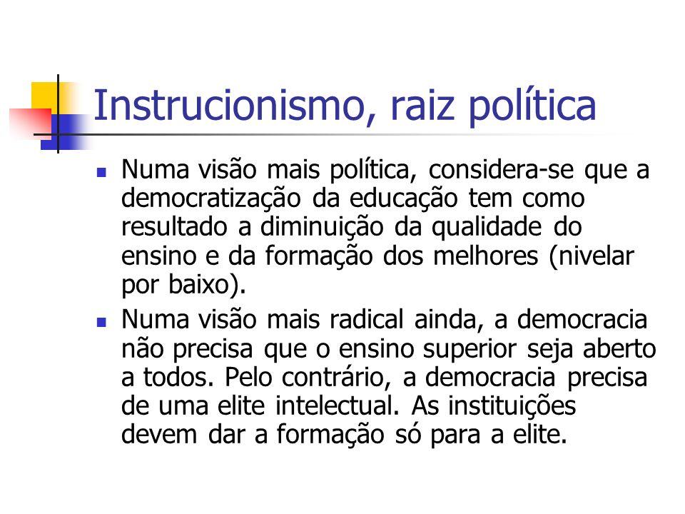 Instrucionismo, raiz política Numa visão mais política, considera-se que a democratização da educação tem como resultado a diminuição da qualidade do