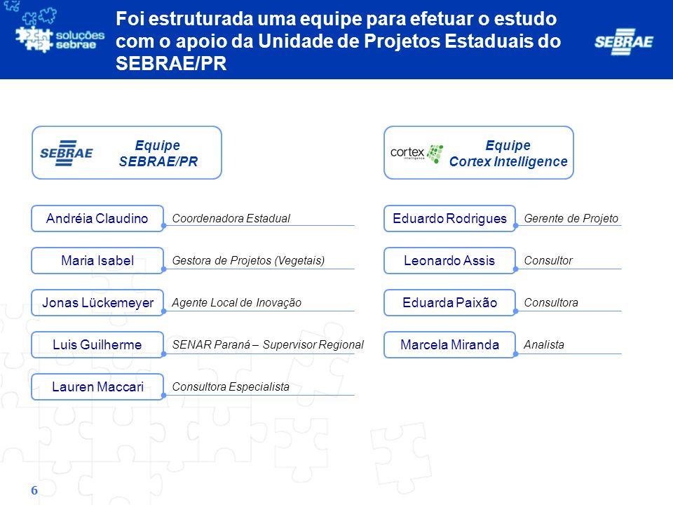 7 Etapas Entendimento do Contexto Competitivo e Mapeamento das Cadeias de Valor 1 Pesquisa Exploratória e Definição dos Pontos de Aprofundamento 2 Desenvolvimento e Preenchimento do Modelo de Análise 3 Análise e Apresentação Final 4 Atividades Produtos 1.Pesquisa e Análise de Dados Secundários sobre o setor 2.Mapeamento da Cadeia de Valor de Vegetais 3.Entrevistas com os gestores de projetos e especialistas 4.Criação dos roteiros de entrevistas 1.Visitas e entrevistas com empresas do setor e especialistas 2.Refinamento do modelo de análise de canais para a realidade das MPEs 1.Aplicação do Modelo 2.Identificação de ações do SEBRAE/PR 3.Identificação de casos de destaque 1.Análises Finais 2.Síntese e Resumo Executivo Cadeia de Valor do Segmento Lista de empresas a serem contatadas Modelo de análise Análises e Apresentação Final Atual Pontos de atenção a serem explorados Movimentos identificados para MPEs de cada segmento O estudo compreendeu quatro etapas principais, com a realização de visitas a produtores e associações, além de contatos telefônicos Roteiros de entrevistas Casos de empresas de destaque