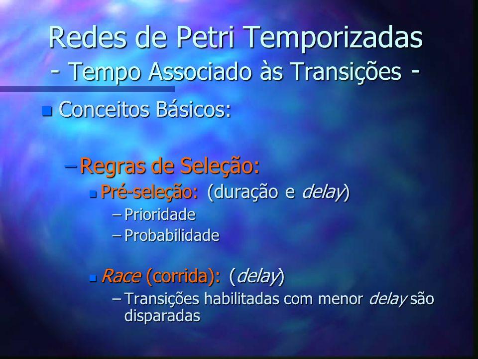 Redes de Petri Temporizadas - Tempo Associado às Transições - n Conceitos Básicos: –Regras de Seleção: n Pré-seleção: (duração e delay) –Prioridade –P