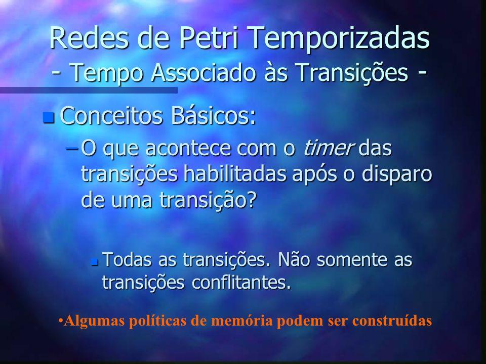 Redes de Petri Temporizadas - Tempo Associado às Transições - n Conceitos Básicos: –O que acontece com o timer das transições habilitadas após o dispa