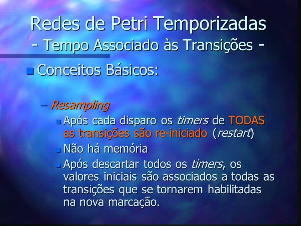 Redes de Petri Temporizadas - Tempo Associado às Transições - n Conceitos Básicos: –Resampling n Após cada disparo os timers de TODAS as transições sã