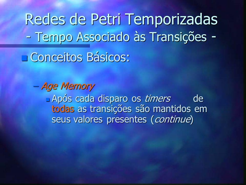 Redes de Petri Temporizadas - Tempo Associado às Transições - n Conceitos Básicos: –Age Memory n Após cada disparo os timersde todas as transições são