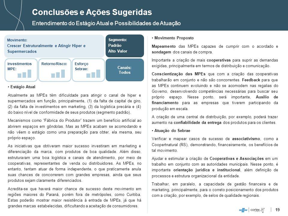 19 Conclusões e Ações Sugeridas Entendimento do Estágio Atual e Possibilidades de Atuação Estágio Atual Atualmente as MPEs têm dificuldade para atingi
