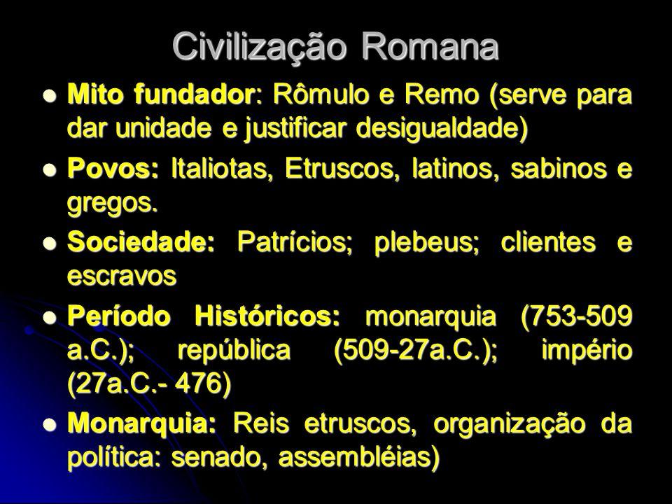 Civilização Romana Mito fundador: Rômulo e Remo (serve para dar unidade e justificar desigualdade) Povos: Italiotas, Etruscos, latinos, sabinos e greg