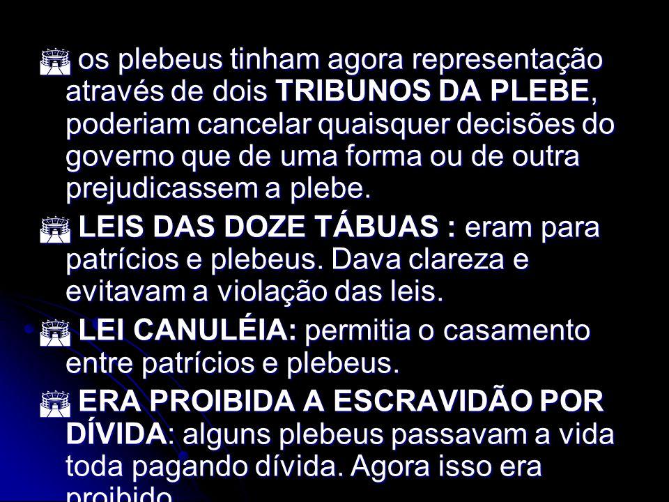 os plebeus tinham agora representação através de dois TRIBUNOS DA PLEBE, poderiam cancelar quaisquer decisões do governo que de uma forma ou de outra