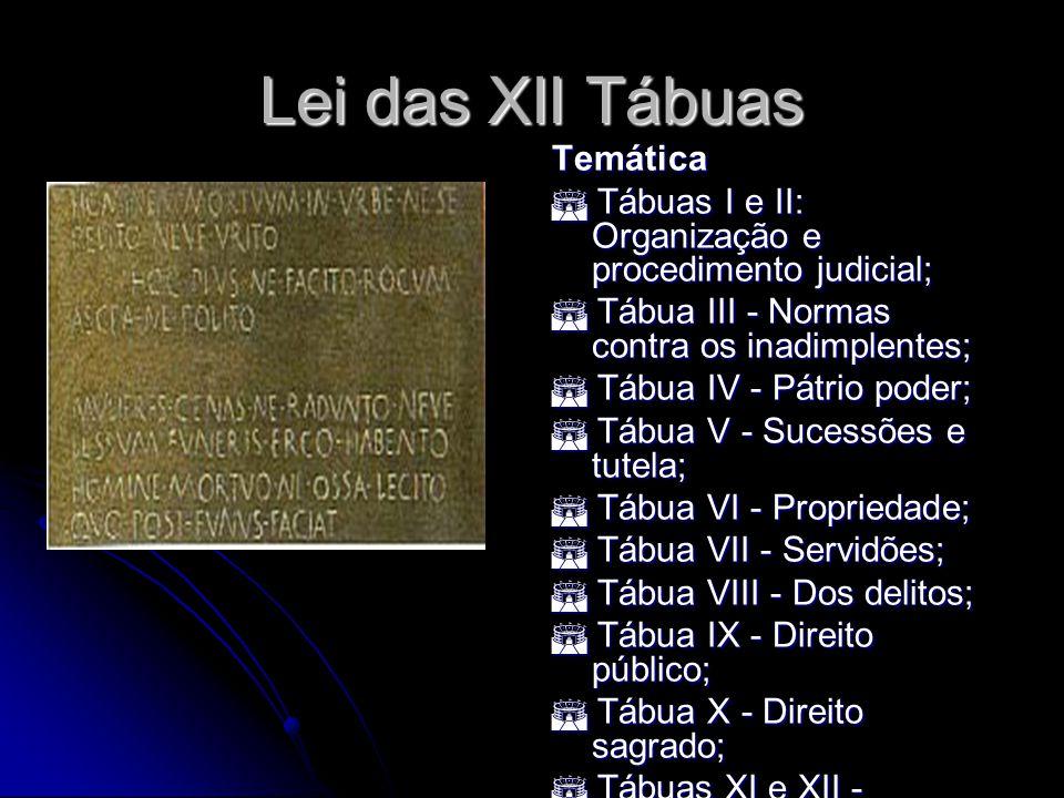 Lei das XII Tábuas Temática Tábuas I e II: Organização e procedimento judicial; Tábuas I e II: Organização e procedimento judicial; Tábua III - Normas
