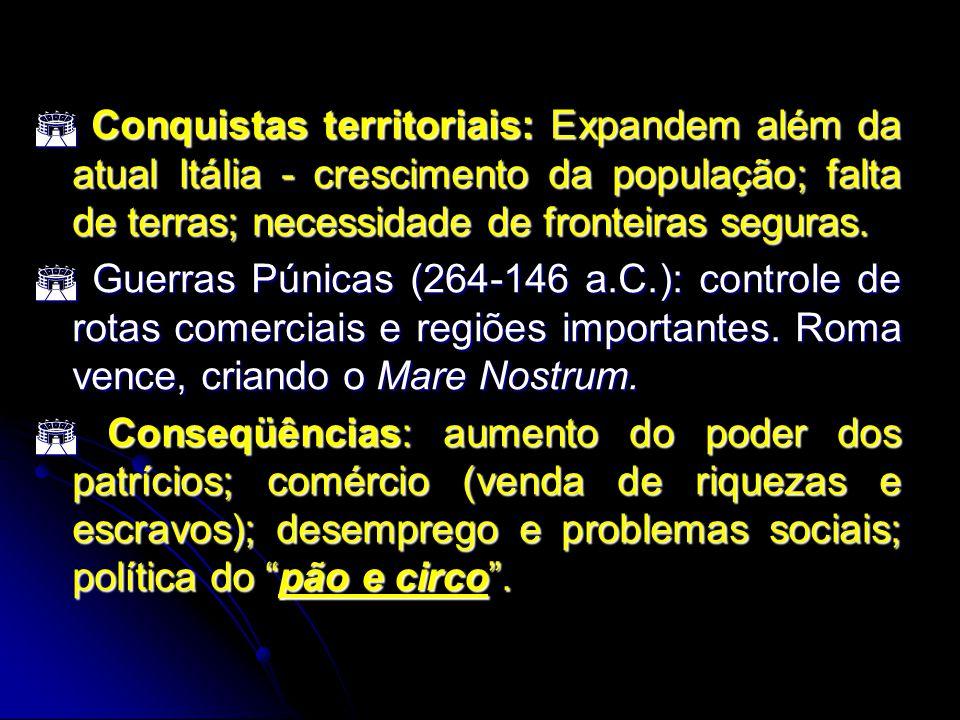Conquistas territoriais: Expandem além da atual Itália - crescimento da população; falta de terras; necessidade de fronteiras seguras. Conquistas terr