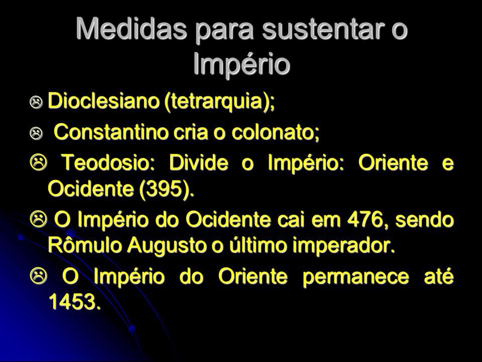 Medidas para sustentar o Império Dioclesiano (tetrarquia); Dioclesiano (tetrarquia); Constantino cria o colonato; Constantino cria o colonato; Teodosi