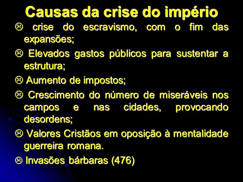Causas da crise do império crise do escravismo, com o fim das expansões; crise do escravismo, com o fim das expansões; Elevados gastos públicos para s