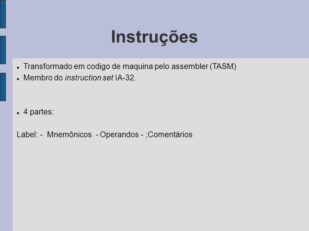 Instruções Transformado em codigo de maquina pelo assembler (TASM) Membro do instruction set IA-32. 4 partes: Label: - Mnemônicos - Operandos - ;Comen