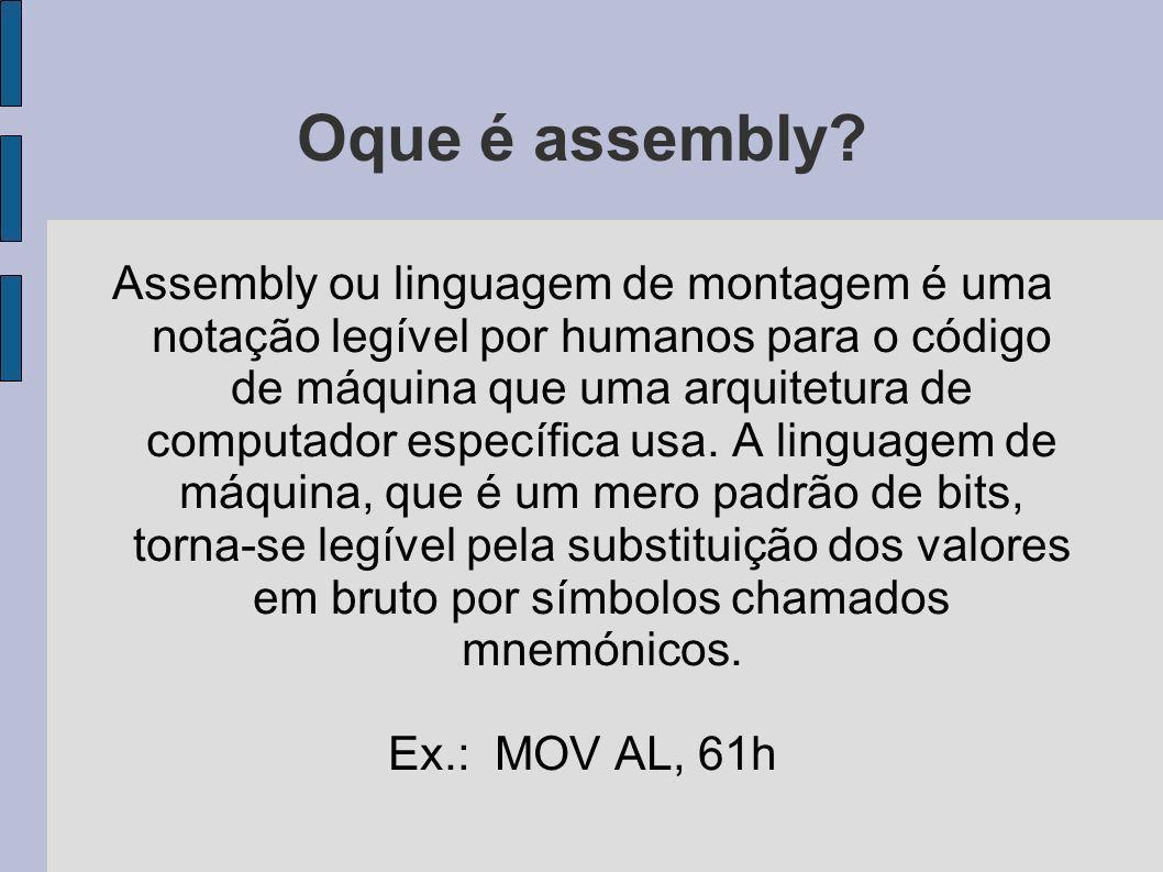 Oque é assembly? Assembly ou linguagem de montagem é uma notação legível por humanos para o código de máquina que uma arquitetura de computador especí