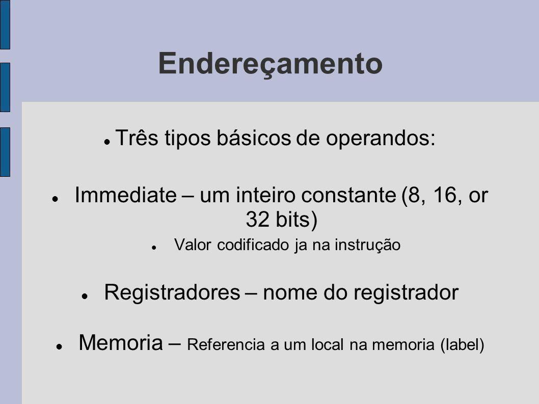 Endereçamento Três tipos básicos de operandos: Immediate – um inteiro constante (8, 16, or 32 bits) Valor codificado ja na instrução Registradores – n
