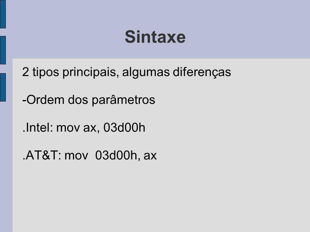 Sintaxe 2 tipos principais, algumas diferenças -Ordem dos parâmetros.Intel: mov ax, 03d00h.AT&T: mov 03d00h, ax