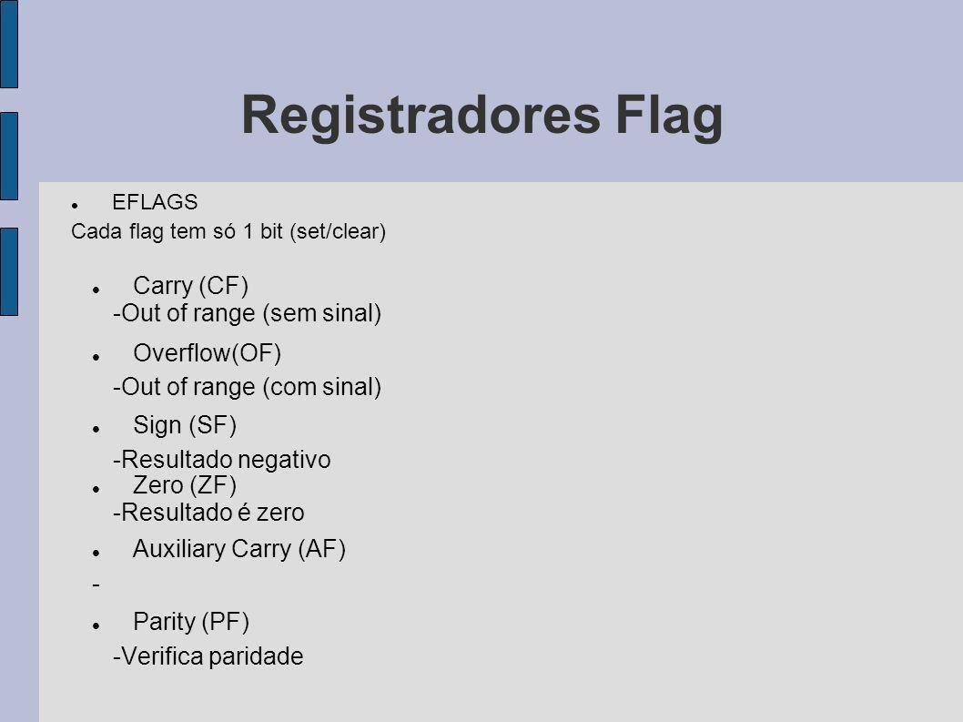 Registradores Flag EFLAGS Cada flag tem só 1 bit (set/clear) Carry (CF) -Out of range (sem sinal) Overflow(OF) -Out of range (com sinal) Sign (SF) -Re