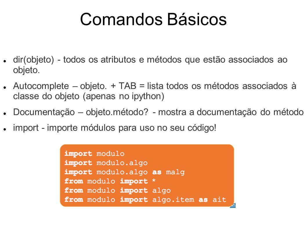 Comandos Básicos dir(objeto) - todos os atributos e métodos que estão associados ao objeto. Autocomplete – objeto. + TAB = lista todos os métodos asso