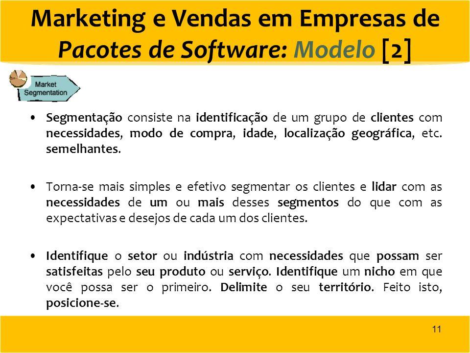 Marketing e Vendas em Empresas de Pacotes de Software: Modelo [2] Segmentação consiste na identificação de um grupo de clientes com necessidades, modo