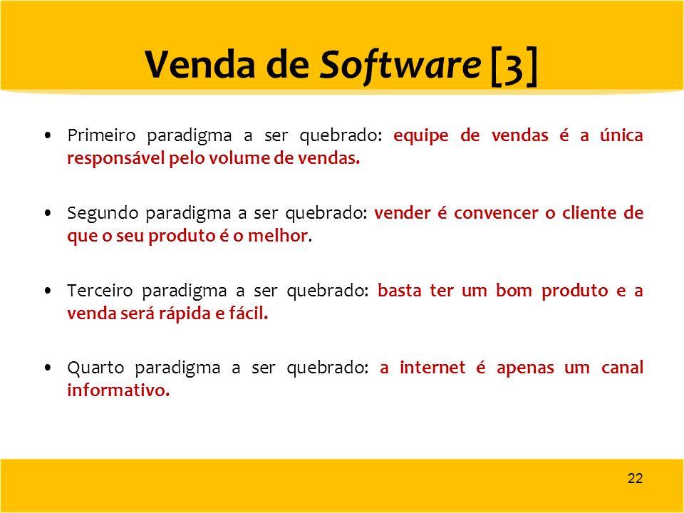 Venda de Software [3] Primeiro paradigma a ser quebrado: equipe de vendas é a única responsável pelo volume de vendas. Segundo paradigma a ser quebrad