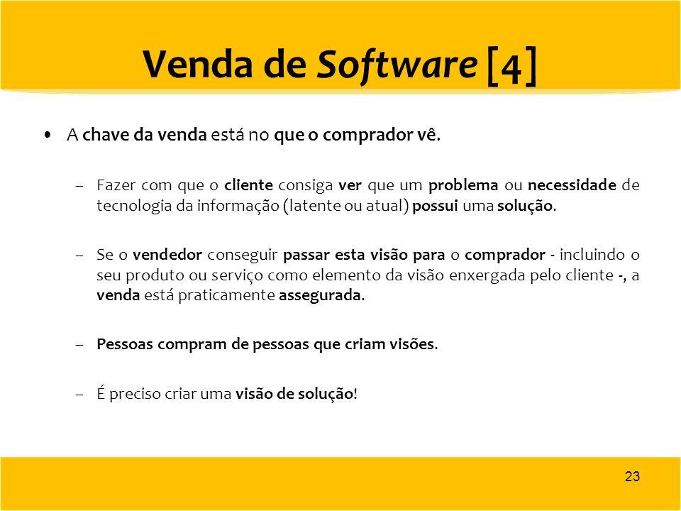 Venda de Software [4] A chave da venda está no que o comprador vê. –Fazer com que o cliente consiga ver que um problema ou necessidade de tecnologia d