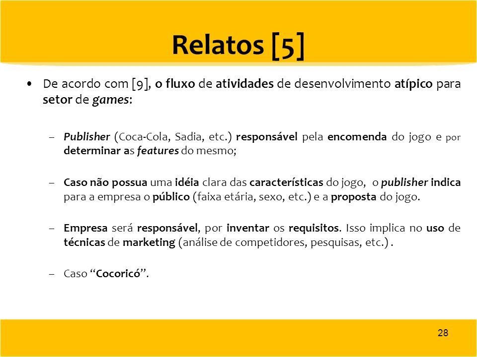 Relatos [5] De acordo com [9], o fluxo de atividades de desenvolvimento atípico para setor de games: –Publisher (Coca-Cola, Sadia, etc.) responsável p