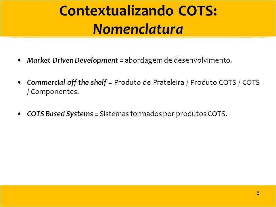Contextualizando COTS: Nomenclatura Market-Driven Development = abordagem de desenvolvimento. Commercial-off-the-shelf = Produto de Prateleira / Produ