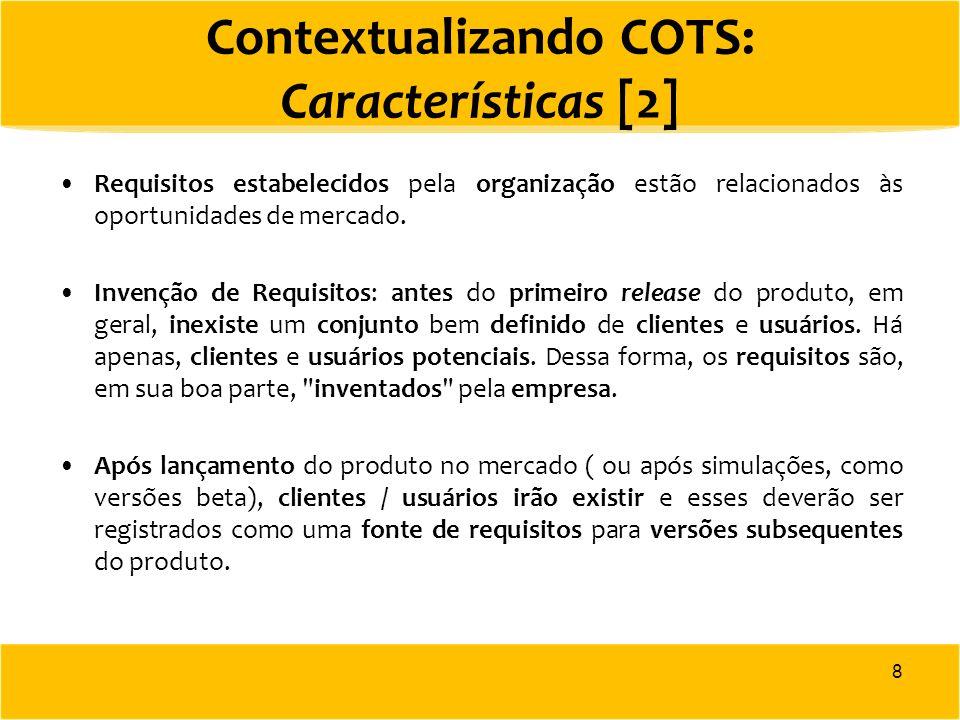 Requisitos estabelecidos pela organização estão relacionados às oportunidades de mercado. Invenção de Requisitos: antes do primeiro release do produto