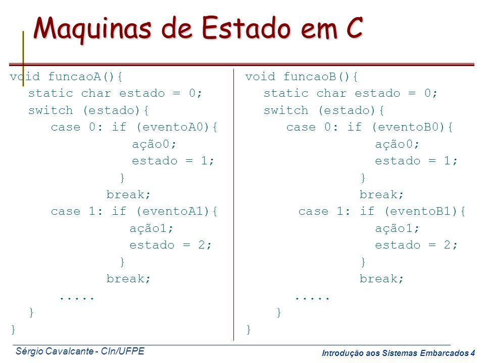 Sérgio Cavalcante - CIn/UFPE Introdução aos Sistemas Embarcados 4 Maquinas de Estado em C void funcaoA(){ static char estado = 0; switch (estado){ cas