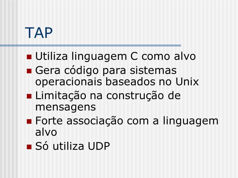 TAP Utiliza linguagem C como alvo Gera código para sistemas operacionais baseados no Unix Limitação na construção de mensagens Forte associação com a
