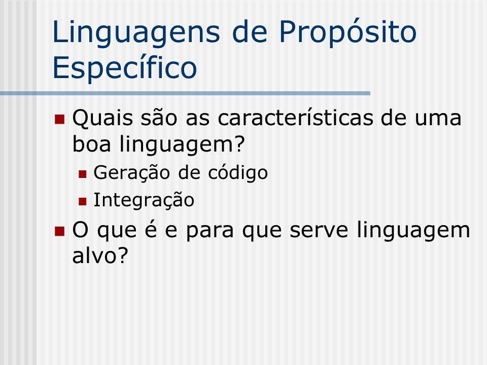 Linguagens de Propósito Específico Quais são as características de uma boa linguagem? Geração de código Integração O que é e para que serve linguagem