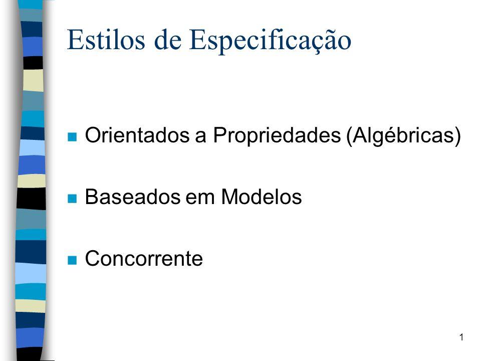 2 Especificação Algébrica Uma Especificação consiste de –Um conjunto de nomes de tipos (sorts) –Um conjunto de funções –Um conjunto de axiomas (semântica)