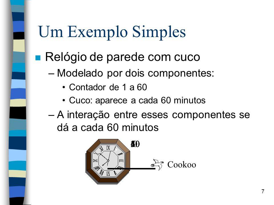 7 Um Exemplo Simples n Relógio de parede com cuco –Modelado por dois componentes: Contador de 1 a 60 Cuco: aparece a cada 60 minutos –A interação entr