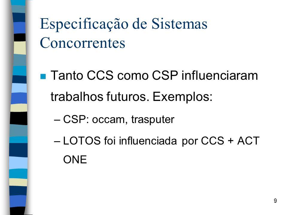 9 Especificação de Sistemas Concorrentes n Tanto CCS como CSP influenciaram trabalhos futuros. Exemplos: –CSP: occam, trasputer –LOTOS foi influenciad
