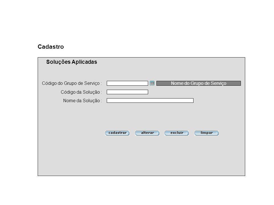 Código da Solução : Nome da Solução : Cadastro Soluções Aplicadas Código do Grupo de Serviço :Nome do Grupo de Serviço