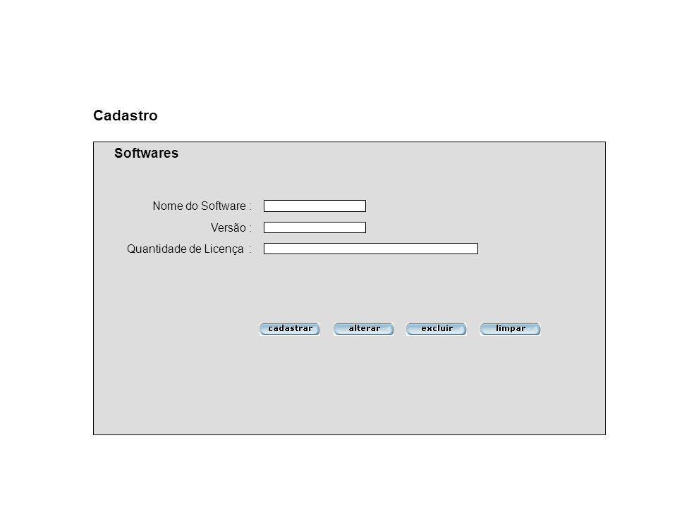 Versão : Quantidade de Licença : Cadastro Softwares Nome do Software :