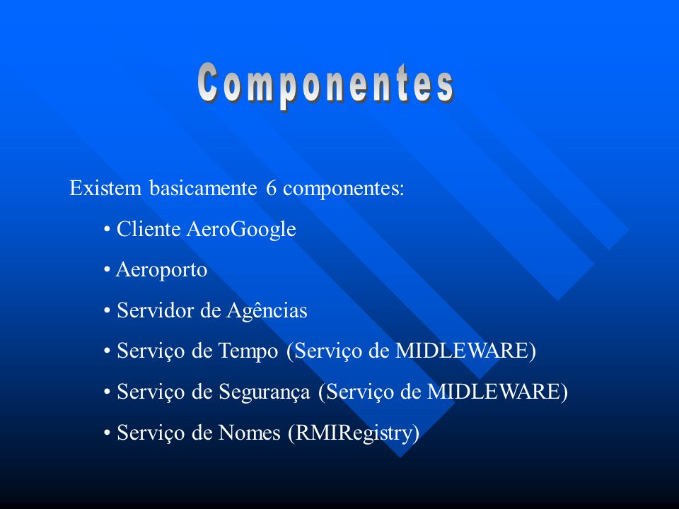 Existem basicamente 6 componentes: Cliente AeroGoogle Aeroporto Servidor de Agências Serviço de Tempo (Serviço de MIDLEWARE) Serviço de Segurança (Ser
