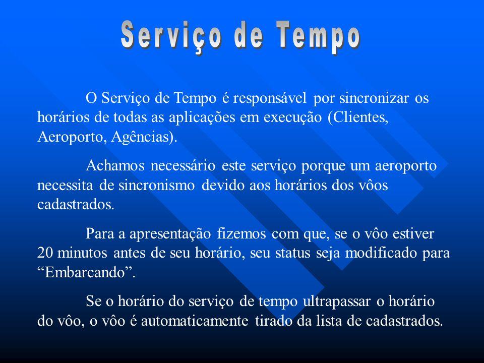 O Serviço de Tempo é responsável por sincronizar os horários de todas as aplicações em execução (Clientes, Aeroporto, Agências). Achamos necessário es