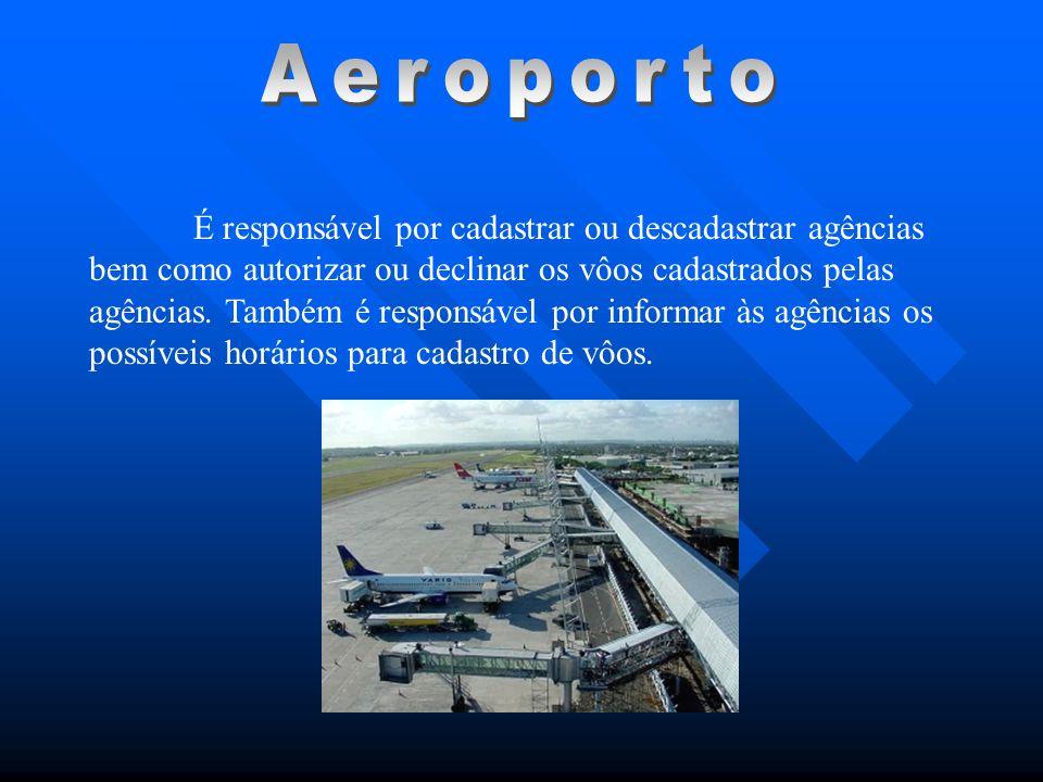 É responsável por cadastrar ou descadastrar agências bem como autorizar ou declinar os vôos cadastrados pelas agências. Também é responsável por infor