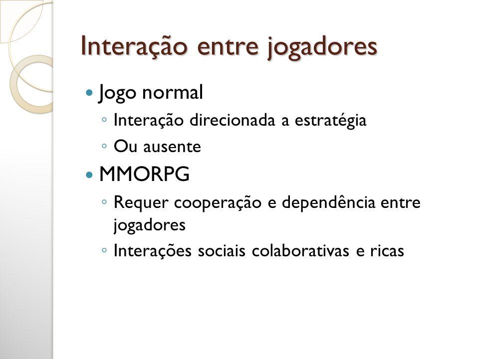 Interação entre jogadores Jogo normal Interação direcionada a estratégia Ou ausente MMORPG Requer cooperação e dependência entre jogadores Interações