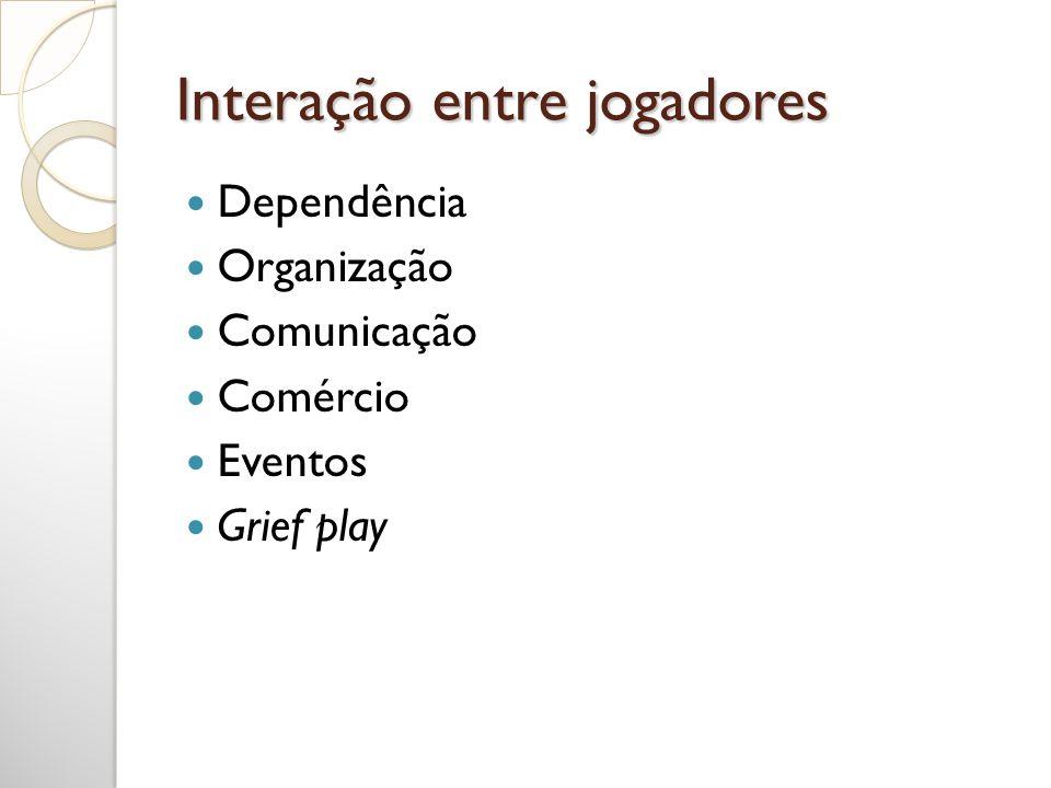 Interação entre jogadores Dependência Organização Comunicação Comércio Eventos Grief play