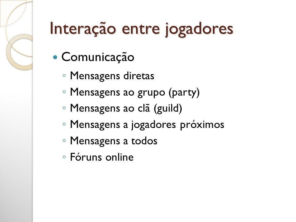 Interação entre jogadores Mensagens diretas Mensagens ao grupo (party) Mensagens ao clã (guild) Mensagens a jogadores próximos Mensagens a todos Fórun