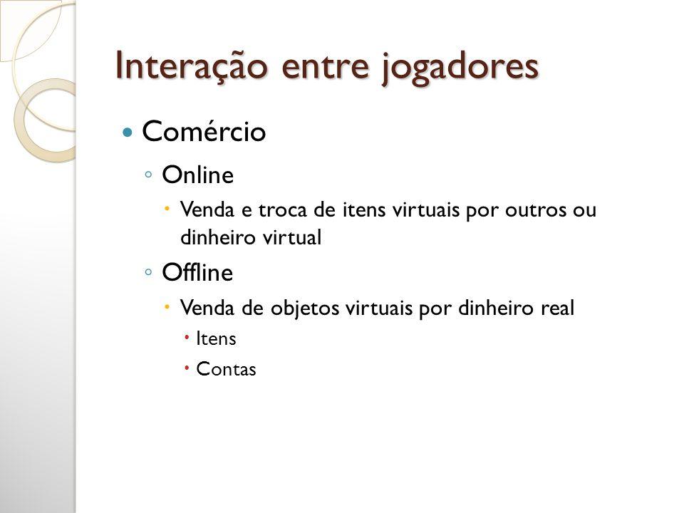 Interação entre jogadores Online Venda e troca de itens virtuais por outros ou dinheiro virtual Offline Venda de objetos virtuais por dinheiro real It