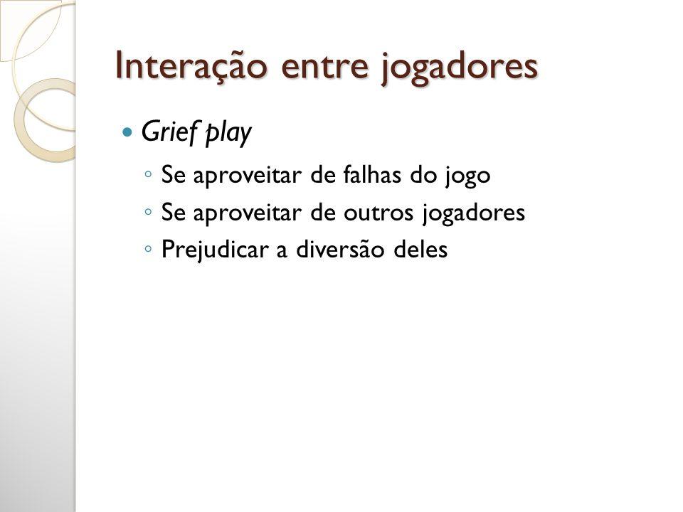 Interação entre jogadores Se aproveitar de falhas do jogo Se aproveitar de outros jogadores Prejudicar a diversão deles Grief play
