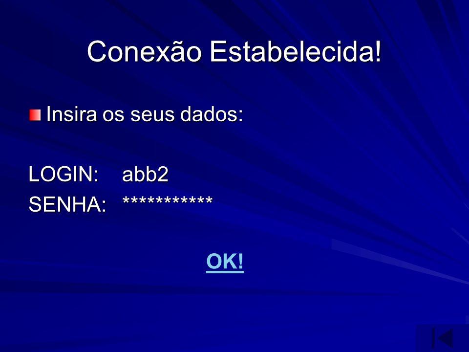 Conexão Estabelecida! Insira os seus dados: LOGIN:abb2 SENHA:*********** OK!