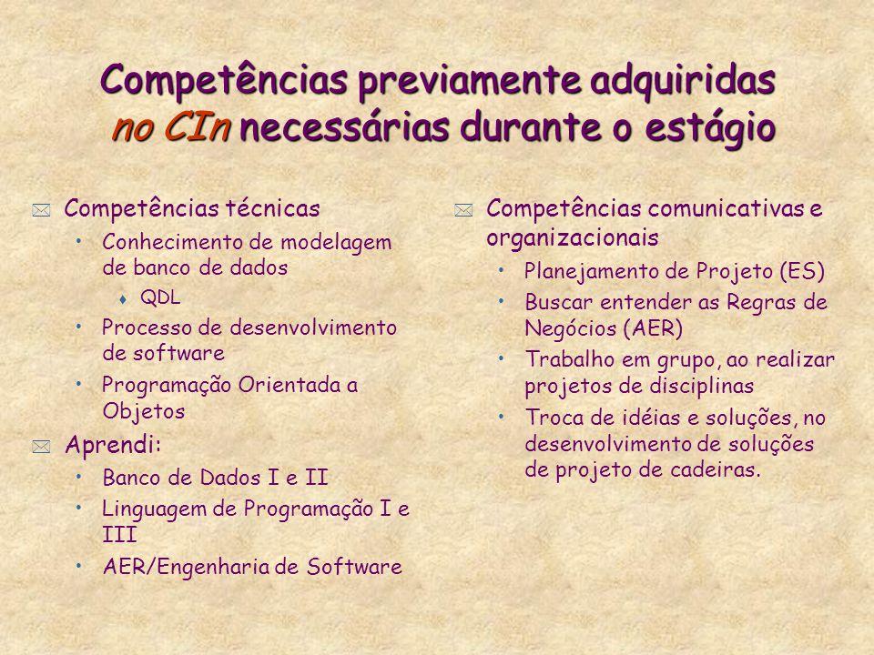 Competências previamente adquiridas no CIn necessárias durante o estágio * Competências comunicativas e organizacionais Planejamento de Projeto (ES) B