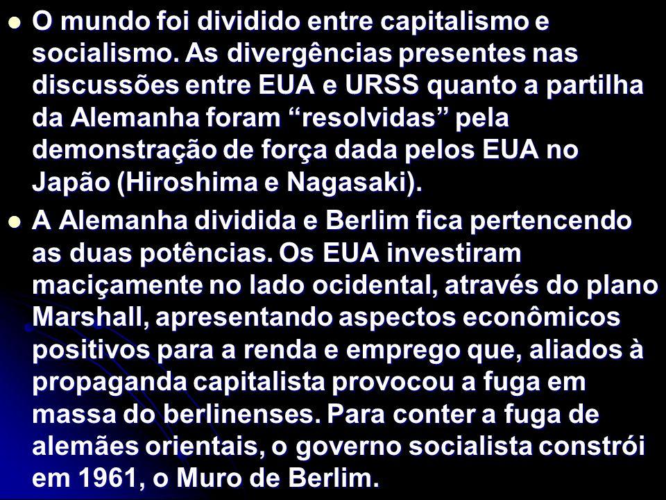 O mundo foi dividido entre capitalismo e socialismo.