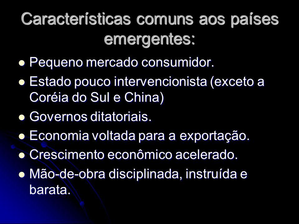 Características comuns aos países emergentes: Pequeno mercado consumidor.