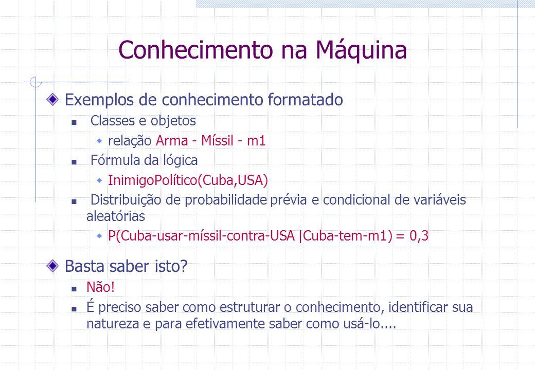 Conhecimento na Máquina Exemplos de conhecimento formatado Classes e objetos relação Arma - Míssil - m1 Fórmula da lógica InimigoPolítico(Cuba,USA) Di