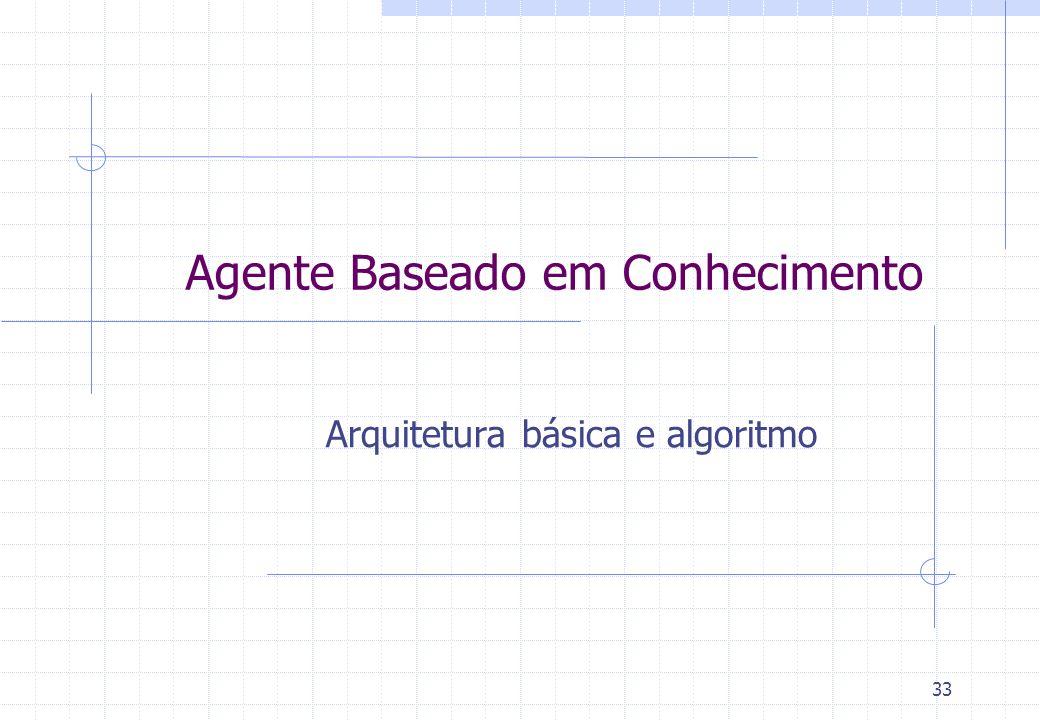 33 Agente Baseado em Conhecimento Arquitetura básica e algoritmo