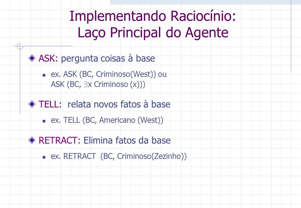 Implementando Raciocínio: Laço Principal do Agente ASK: pergunta coisas à base ex. ASK (BC, Criminoso(West)) ou ASK (BC, x Criminoso (x))) TELL: relat
