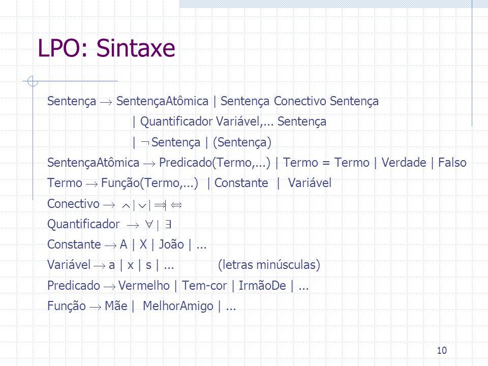 11 LPO: Semântica Constantes e Variáveis denotam Objetos: ex.