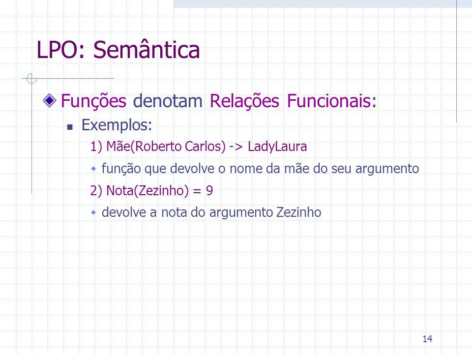 14 LPO: Semântica Funções denotam Relações Funcionais: Exemplos: 1) Mãe(Roberto Carlos) -> LadyLaura função que devolve o nome da mãe do seu argumento